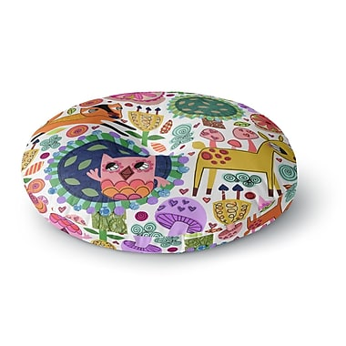 East Urban Home Jane Smith Woodland Critters Colorful Cartoon Round Floor Pillow; 26'' x 26''