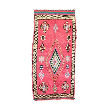 Indigo&Lavender Boucherouite Vintage Moroccan Hand Knotted Wool Red/Green Area Rug