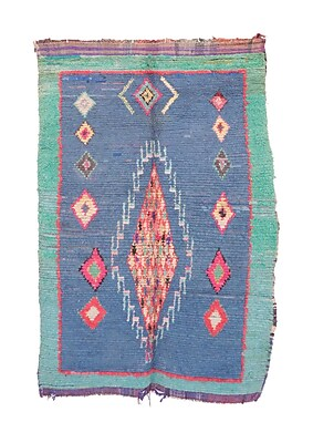 Indigo&Lavender Boucherouite Vintage Moroccan Hand Knotted Wool Blue/Red Area Rug