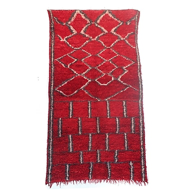 Indigo&Lavender Talsint Vintage Moroccan Hand Knotted Wool Red Are Rug