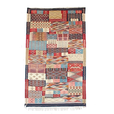 Indigo&Lavender Aknif Moroccan Hand Knotted Wool Red/Cream/Red Area Rug