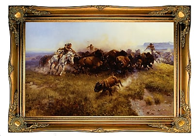 Astoria Grand 'Buffalo Hunt No. 39' Framed Oil Painting Print on Canvas