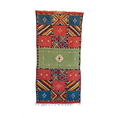 Indigo&Lavender Taznakth Vintage Moroccan Hand Knotted Wool Green/Red/Blue Are Rug