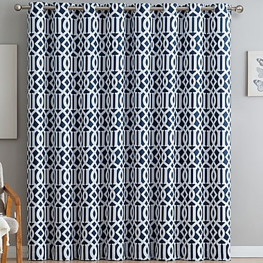 Latitude Run Hassett Trellis Print Geometric Blackout Thermal Grommet Single Curtain Panel