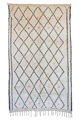 Indigo&Lavender Beni Ourain Vintage Moroccan Hand Knotted Wool Cream/Black Area Rug