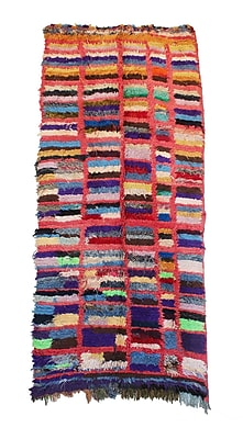 Indigo&Lavender Boucherouite Vintage Moroccan Hand Knotted Wool Pink/Blue Area Rug