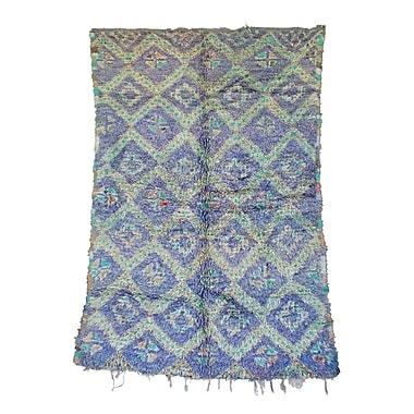 Indigo&Lavender Zayane Vintage Moroccan Hand Knotted Wool Purple/Teal Are Rug