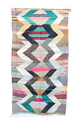 Indigo&Lavender Kilim Boucherouite Vintage Moroccan Hand Knotted Wool Gray/Blue Area Rug