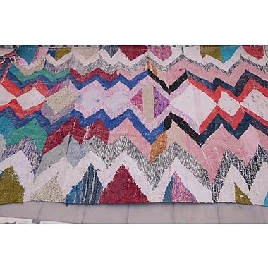 Indigo&Lavender Kilim Boucherouite Vintage Moroccan Hand Knotted Wool Pink/Blue Area Rug