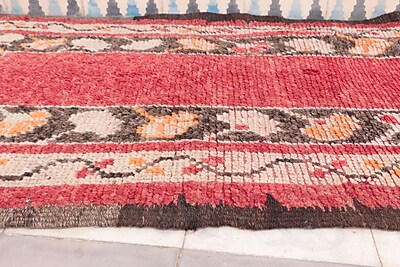 Indigo&Lavender Azilal Vintage Moroccan Hand Knotted Wool Coral/Brown Area Rug