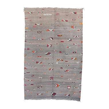 Indigo&Lavender Aknif Moroccan Hand Knotted Wool Gray/Orange Area Rug