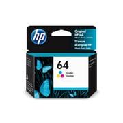 HP - Cartouche d'encre d'origine, tricolore 64 (N9J89AN#140)