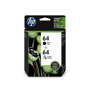 HP - Cartouche d'encre d'origine tricolore et noir 64, paq./2 (X4D92AN#140)