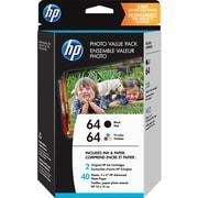 HP - Papier photo HP 64, 40 feuilles 4 po x 6 po, paquet économique (Z2H77AN#140)