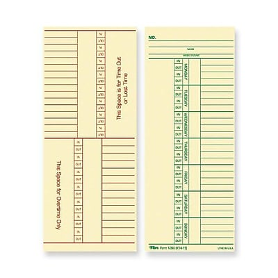 """""TOPS Weekly Time Cards - Numbered Days, 8 1/4"""""""" x 3 3/8"""""""", 1/Ea"""""" 377678"