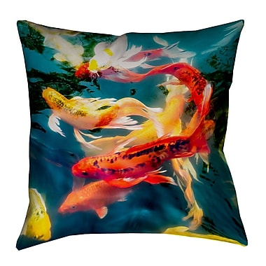 Latitude Run Kalie Koi Pond Concealed Zipper Throw Pillow; 16'' x 16''