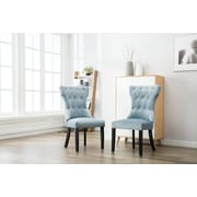 One Allium Way Ottley Tufted Upholstered Dining Chair (Set of 2); Blue