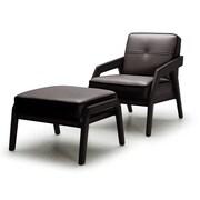 Orren Ellis Coalpit Heath Leather Modern Armchair and Ottoman