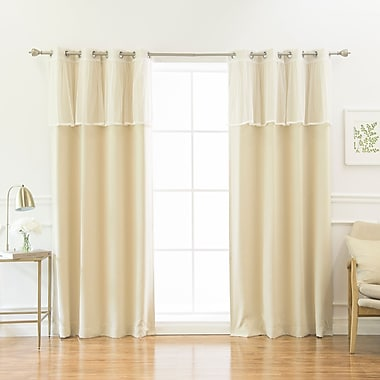 One Allium Way Guerin 4 Piece Solid Blackout Thermal Grommet Curtain Panel Set; Beige