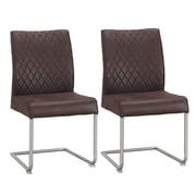 Orren Ellis Novak Luxury Upholstered Dining Chair (Set of 2); Brown