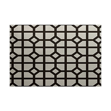 Orren Ellis Beane Geometric Print Dark Brown Indoor/Outdoor Area Rug; 3' x 5'