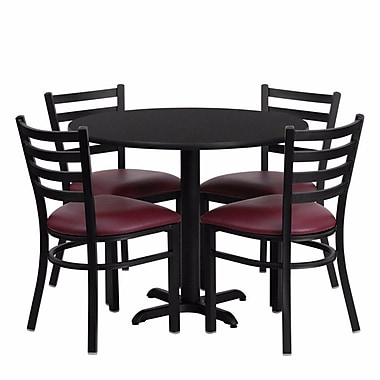 Red Barrel Studio Camden Round Laminate Metal 5 Piece Dining Set; Black