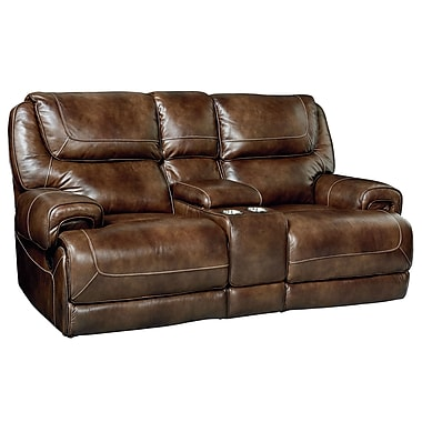 Red Barrel Studio Applewood Console Power Motion Leather Reclining Loveseat