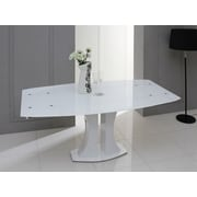 Orren Ellis Camron Modern Extendable Glass Top Dining Table