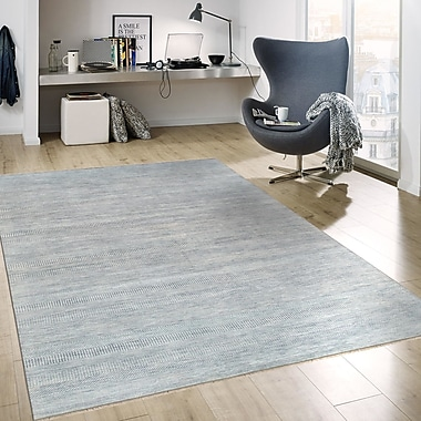 Pasargad Transitional Hand-Knotted Rayon from Bamboo Silk and Wool Blue Area Rug; 9'1'' x 12'