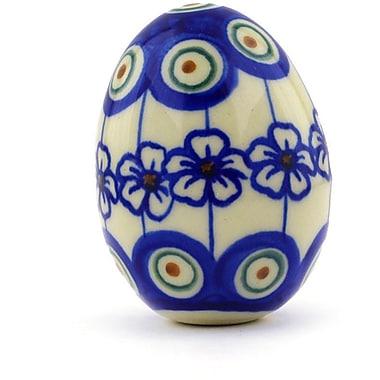 Polmedia Polish Pottery Flowering Peacock Egg Sculpture