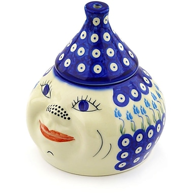 Polmedia Polish Pottery Floral Peacock Garlic and Onion Kitchen Canister