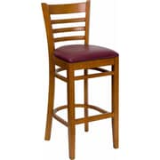 Red Barrel Studio Dryden 31'' Wood Bar Stool w/ Cushion; Cherry/Burgundy