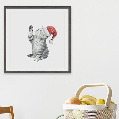 The Holiday Aisle 'Christmas Kitten' Framed Watercolor Painting Print; 32'' H x 32'' W