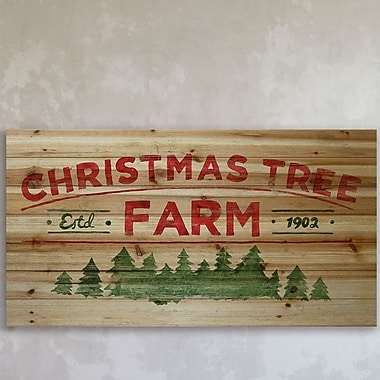 The Holiday Aisle 'My Christmas Tree' Painting Print on Natural Pine Wood; 12'' H x 24'' W