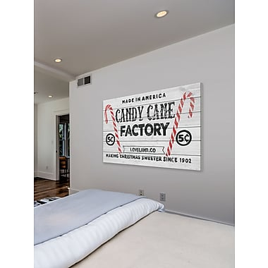 The Holiday Aisle 'Candy Cane' Textual Art on White Wood; 40'' H x 60'' W