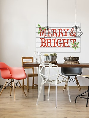 The Holiday Aisle 'Holly and Merry' Textual Art on Wood; 40'' H x 60'' W