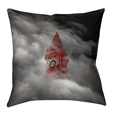 East Urban Home Watercolor Gothic Clocktower 100pct Cotton Pillow Cover; 16'' x 16''