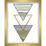 Varick Gallery '3 Triangles' Framed Graphic Art Print in Blue/Gold; 10'' H x 8'' W x 1.3'' D