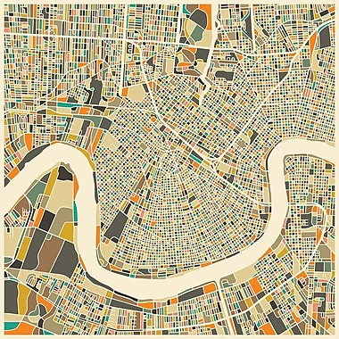 East Urban Home 'Abstract City Map of New Orleans' Graphic Art on Wrapped Canvas