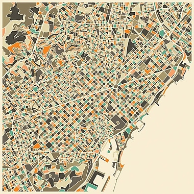 East Urban Home 'Abstract City Map of Barcelona' Graphic Art on Wrapped Canvas