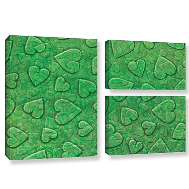 Zoomie Kids 'Large Heart Mixed Pattern' 3 Piece Graphic Art on Wrapped Canvas Set in Green