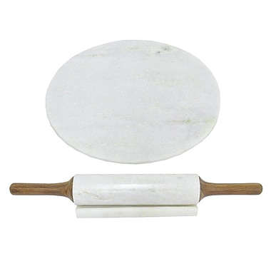Three Hands 2 Piece Marble Board and Rolling Pin Set