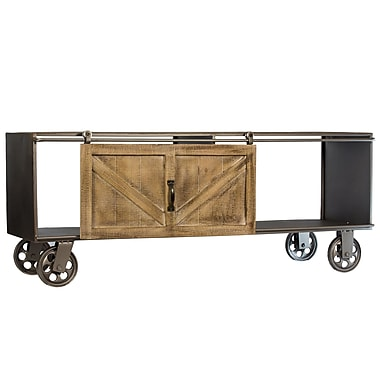 Williston Forge Gracelyn Wheeled Metal Accent Chest w/ Wood Barn Door