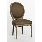 Zentique Inc. Medallion Side Chair in Linen - Aubergine; Limed Grey Oak