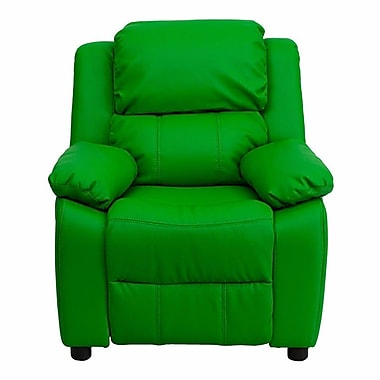 Zoomie Kids Ashley Heavily Padded Contemporary Kids Recliner w/ Storage Arm; Green