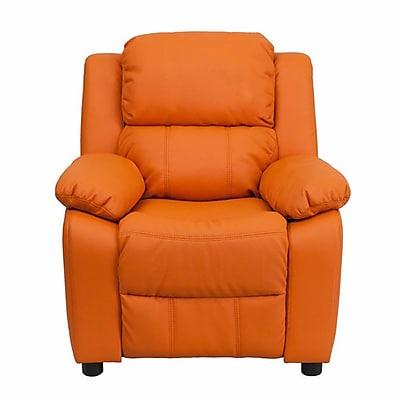 Zoomie Kids Ashley Heavily Padded Contemporary Kids Recliner w/ Storage Arm; Orange WYF078281883588