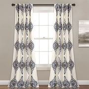 Bungalow Rose Sussex Geometric Room Darkening Rod Pocket Curtain Panels (Set of 2); Cream