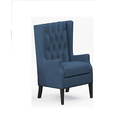 Alcott Hill Argenta Button Tufted Wingback Chair; Blue