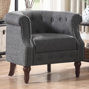Alcott Hill Argenziano Chesterfield Chair; Gray