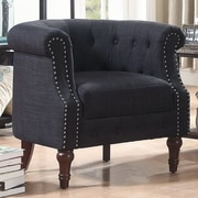 Alcott Hill Argenziano Chesterfield Chair; Charcoal